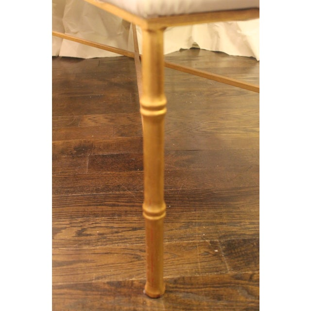 Worlds Away White Tufted Leatherette Gold Faux Bamboo Bench For Sale In New Orleans - Image 6 of 12