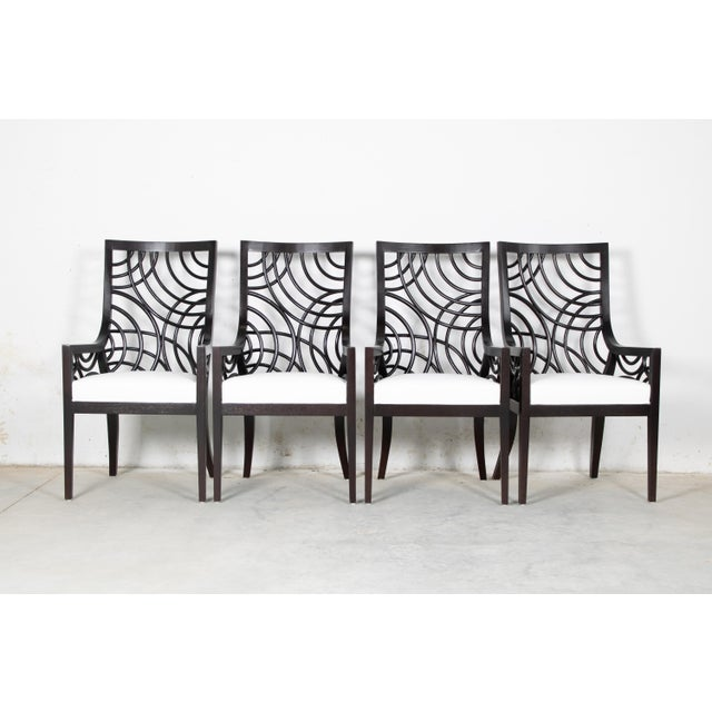 Wood David Francis Manhattan Dining Armchairs- Set of 4 For Sale - Image 7 of 7