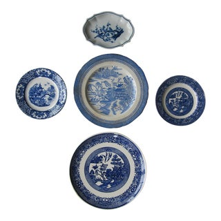 Blue & White Transfer-Ware Plates- 5 Pieces For Sale