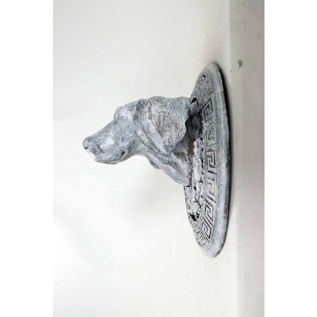 English Mid 20th Century Wooden Carved Dog Head For Sale - Image 3 of 9
