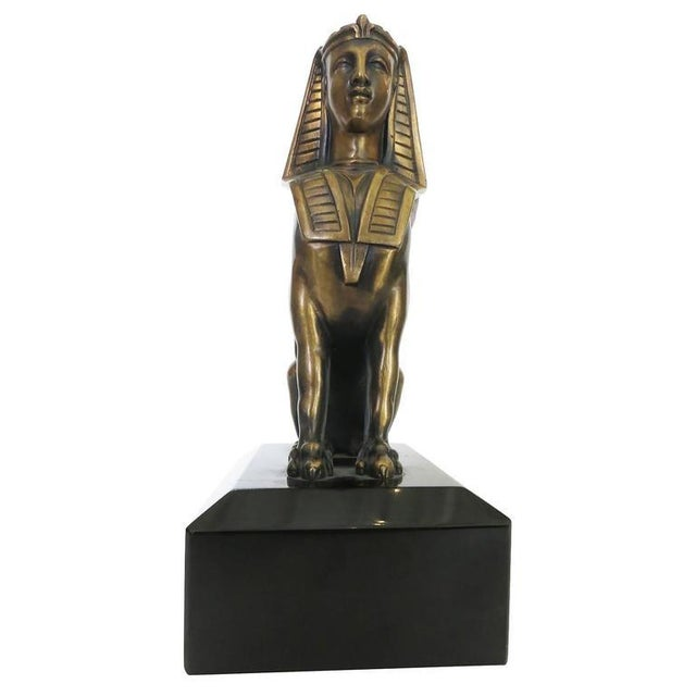 Gold Egyptian Style Bronze Sphinx Griffin Bookends For Sale - Image 8 of 9