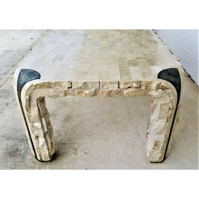 1980s Maitland Smith Tessellated Mactan Stone + Brass Coffee Table For Sale - Image 9 of 10