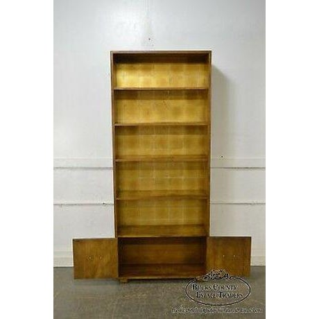 Henredon Campaign Style Open Bookcase Cabinet For Sale - Image 9 of 13