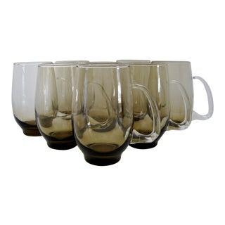 Vintage Smoke Glass Mugs, Set of 8 For Sale