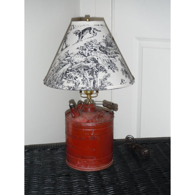 Vintage Gas Can Table Lamp and Shade - Image 2 of 5
