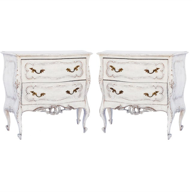 Pair of Painted Rococo-Style Nightstand Commodes For Sale - Image 9 of 9
