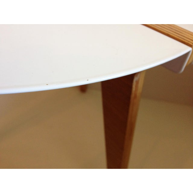 CB2 White Enamel & Bamboo Side Table - Image 9 of 11