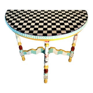 MacKenzie-Child's Inspired Table Demi-Lune For Sale