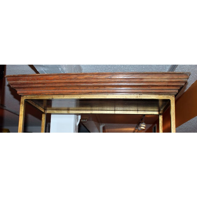 Modern Vintage Midcentury Custom Oak Gilt Steel Metal Shelf Etagere Display Case For Sale - Image 3 of 11