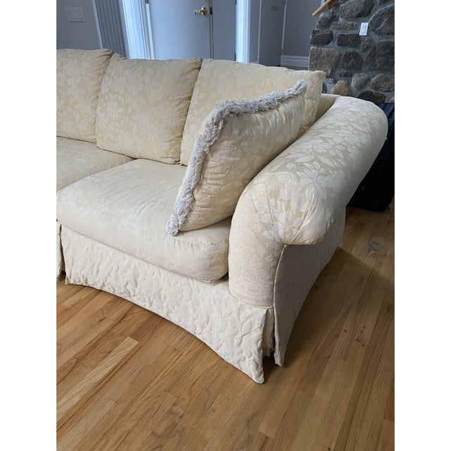 Light Yellow 1980s Traditional Rolled Arm Sofa and Loveseat - A Pair For Sale - Image 8 of 13