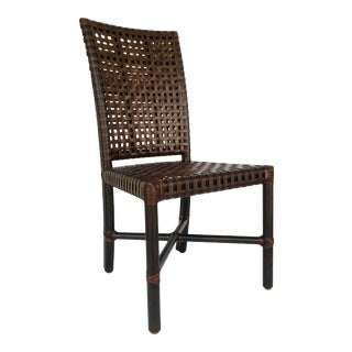 Baker McGuire Organic Modern Woven Rawhide Leather and Brown Rattan Dining Chair For Sale