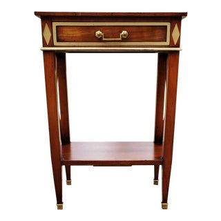 20th Century French Mahogany & Bronze Nightstand For Sale
