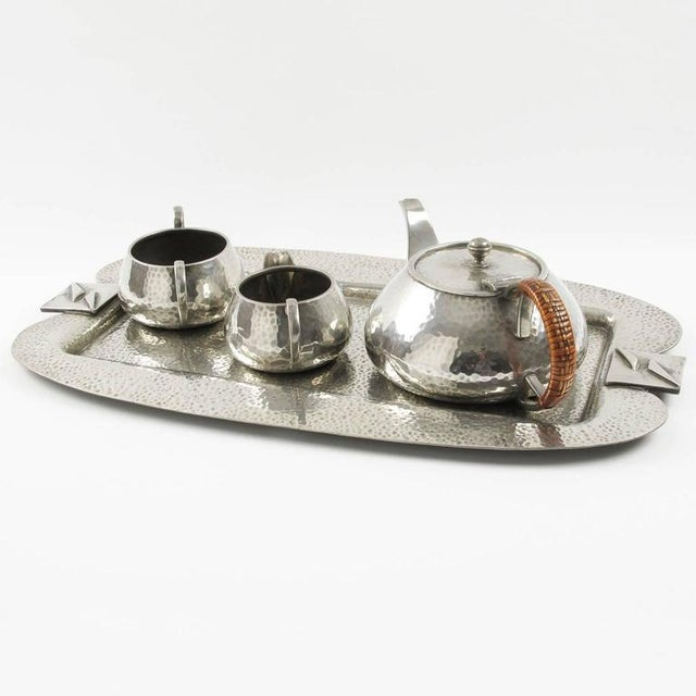 Fenton Brothers Fenton Bros Ltd Sheffield England Art Nouveau Pewter Tea Coffee Serving Set For Sale - Image 4 of 11