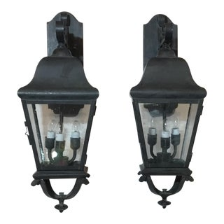 Contemporary Hand Crafted Brass Wall Hanging Lanterns - a Pair