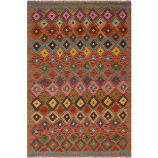Geometric Brown Hand-Woven Kilim Wool Rug - 5′ × 6′4″ For Sale