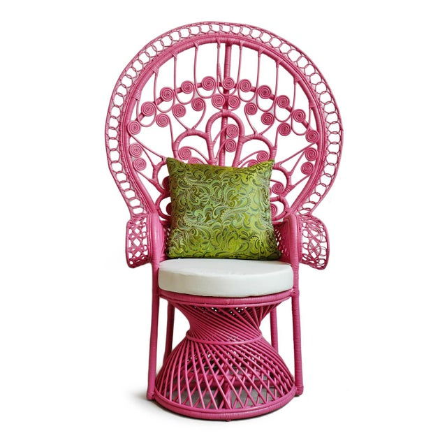 2020s Pink Peacock Wicker Chair For Sale - Image 5 of 8