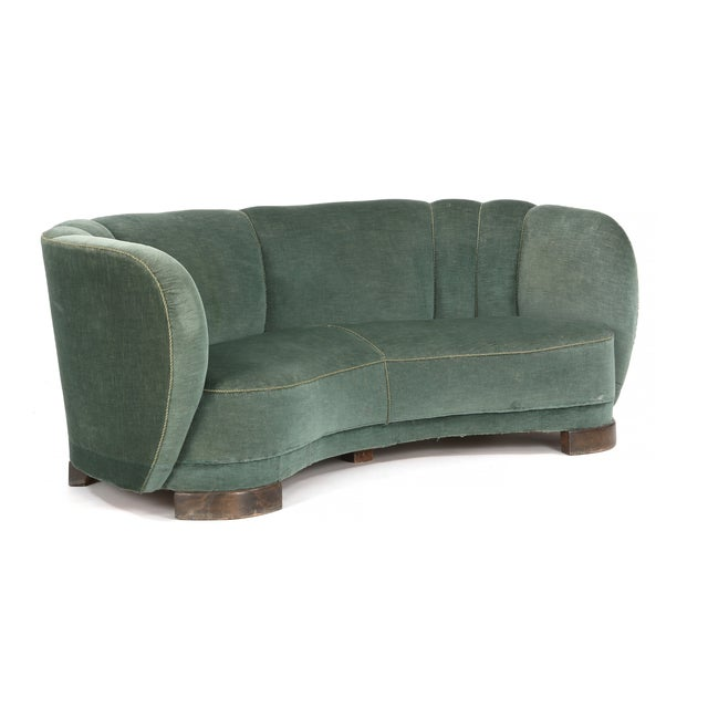 1940s Curved Green Banana Sofa in Style of Viggo Boesen / Fritz Hansen, Denmark, 1940s For Sale - Image 5 of 5