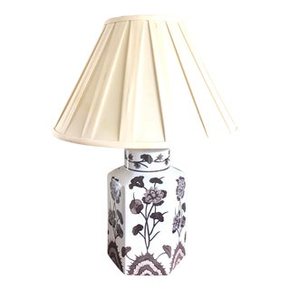 1980s Vintage Simon Pierce Tonquin Brown Hand Painted Octagonal Table Lamp For Sale