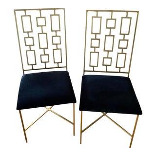 Worlds Away Regency Tetris Velvet Dining Chairs - a Pair For Sale