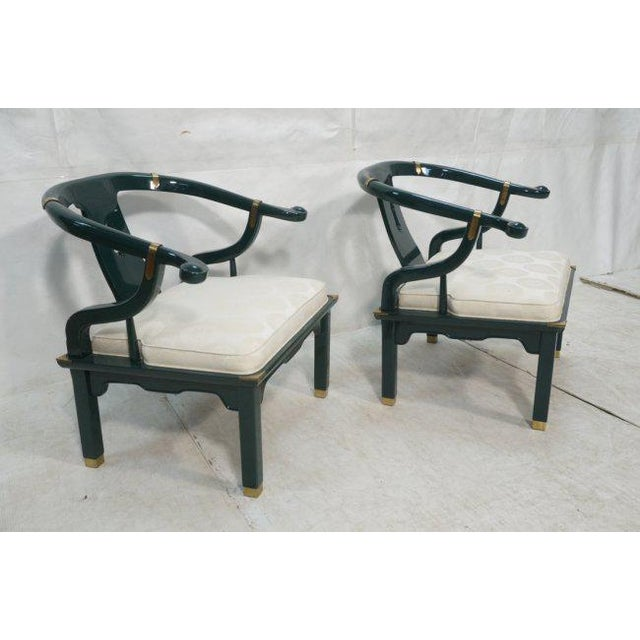 Super cool pair of lounge chairs by Century, signed with Century labels. These armchairs are in the asian style, similar...