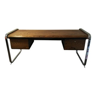 Vintage Mid Century Peter Protzmann for Herman Miller Chrome and Zebrawood Desk For Sale