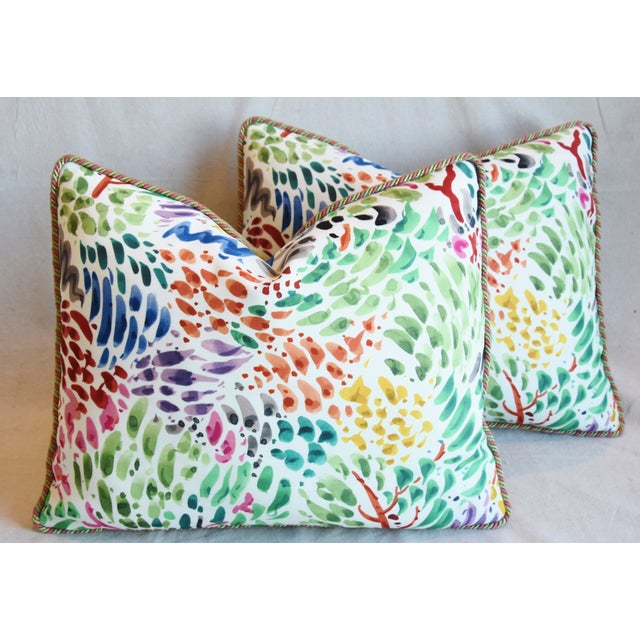 """Cotton Clarence House Fabric and Scalamandre Mohair Feather/Down Pillows 23"""" X 19"""" - Pair For Sale - Image 7 of 13"""