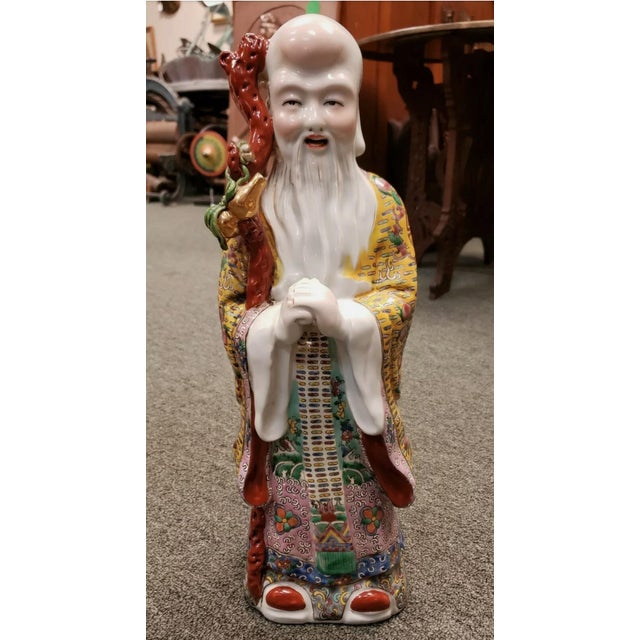 Ceramic Circa 1920 Chinese Famille Rose Porcelain Shou Lao Statue (Early Republic) For Sale - Image 7 of 7