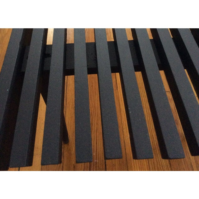 Mid-Century Modern Long Black Wooden Bench - Image 4 of 8