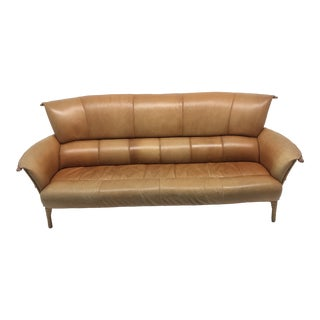 1990s Vintage Pacific Green Cognac Leather Navajo Palm Wood Sofa For Sale