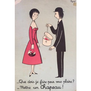 """Raymond Peynet Lithograph """"The Lovers, the Chapeau"""" For Sale"""