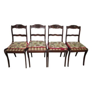Americana Carved Cherry Dining Chairs - Set of 4 For Sale