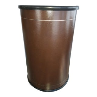 Mid Century Leather Wastebasket Knoll