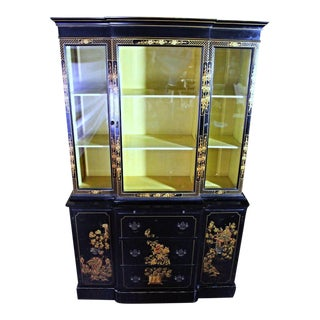 Chippendale Chinoiserie Breakfront China Cabinet