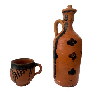 Clay Water Vessel and Cup For Sale
