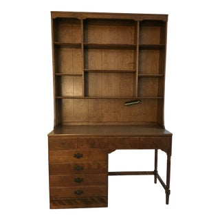 1960s Early American Ethan Allen Desk and Bookcase - 2 Pieces For Sale