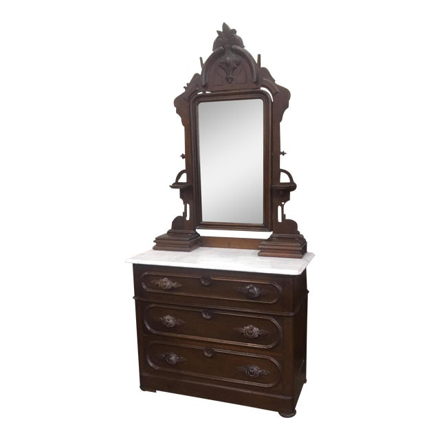 Antique Victorian Marble Top Dresser and Mirror - Image 1 of 12