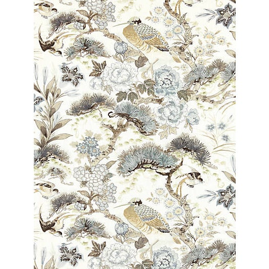 Traditional Scalamandre Shenyang Linen Print Fabric, Parchment Fabric For Sale - Image 3 of 3