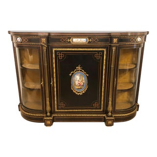 19th Century Ebonized Bronze Mounted Sideboard With Sevres Plaques For Sale