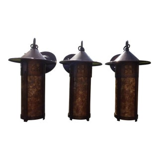 Mica Lamp Company Arts & Crafts Style Sconces - Set of 3 For Sale