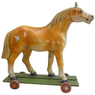 French Antique Horse Toy on Wheels With Wood Base For Sale
