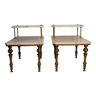 (Final Markdown) 2- Exquisite Solid Marble Side Tables Hollywood Regency Detailed Sculptured Brass Legs For Sale