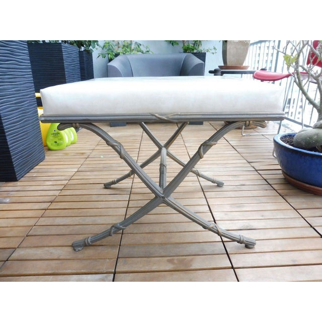 1970's Saber Leg Faux Bamboo Aluminum Bench For Sale - Image 10 of 10