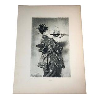 1892 Antique Madame Chrysanthème Photogravure Print For Sale