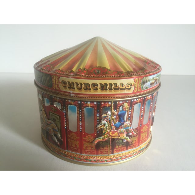 Vintage Churchill's Of London Carousel Candy Tin Box For Sale - Image 9 of 10