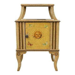 Vintage English Traditional Yellow End Table With Cabinet and Shelf For Sale