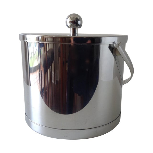 Vintage Chrome Ice Bucket With Tongs - Image 1 of 6