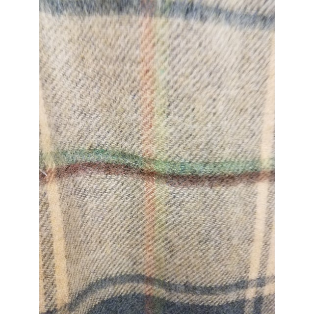 Merino Wool Throw Light Soft Beige Grey Green Red Plaid - Made in England For Sale - Image 11 of 13
