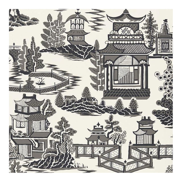 Schumacher Nanjing Chinoiserie Wallpaper in Smoke Grey - 2-Roll Set (9 Yards) For Sale