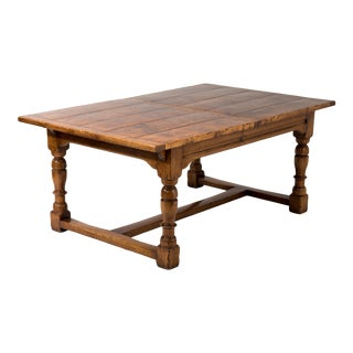 Early 20th Century Bespoke Crafted Figured Walnut Refectory Dining Table For Sale
