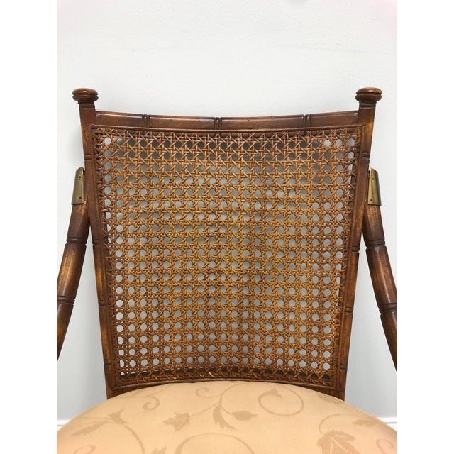 Metal Vintage Mid Century Faux Bamboo Caned Lounge Chair For Sale - Image 7 of 12